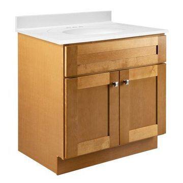 Design House 587121 Brookings 30x21 Unassembled Modern 2-Door Shaker Bathroom Vanity Cabinet Only, Modern Birch