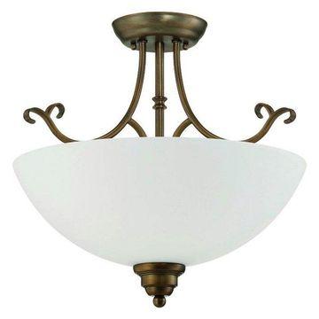 Sunset Aged Brass & Frosted Milk Glass 2-Light Semi Flush Ceiling Ligh