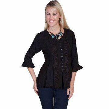Scully Honey Creek Women's Rayon Multi-Fabric 3/4 Sleeve Blouse, HC67-IVO-XXL