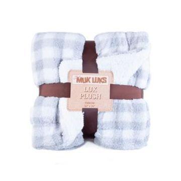 Muk Luks Super Soft Buffalo Plaid Double Layer Sherpa Throw Blanket