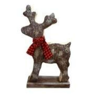 Alpine Corporation Wooden Christmas Reindeer Statue with Festive Bow
