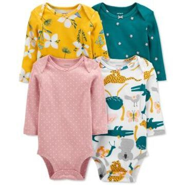 Carter's Baby Girls 4-Pack Long-Sleeve Printed Cotton Bodysuits