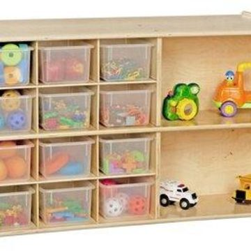 Wood Designs 991294CT 32-Glide Tray Storage Mobile Unit with 32 Translucent Trays, RTA