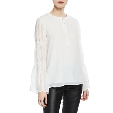Pearly Button-Down Lace-Sleeve Blouse