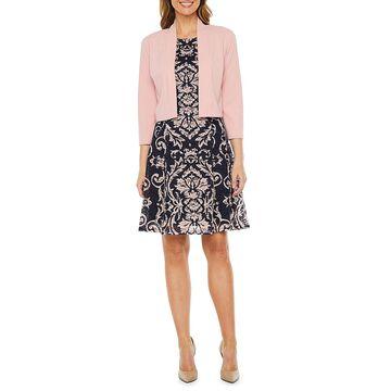 Ronni Nicole 3/4 Sleeve Scroll Lace Jacket Dress