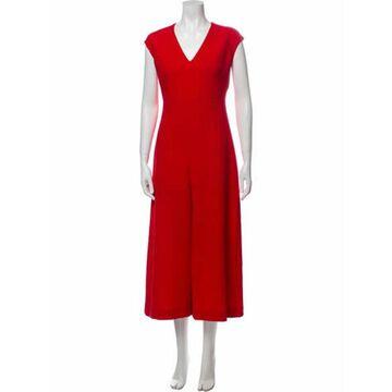 V-Neck Jumpsuit Red