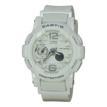 Casio Women's BGA180-7B1 'Baby G' Chronograph White Resin Watch