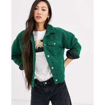 Dr Denim teddy trucker jacket-Green