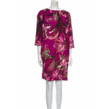 Printed Knee-Length Dress Purple
