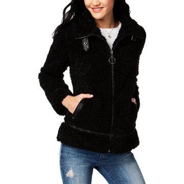 Madden Girl Womens Faux Fur Coat Faux Fur Cold Weather - Black - XL