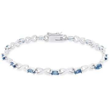 Dolce Giavonna Gold Over Sterling Silver Oval Cut London Blue Topaz XO Link Bracelet