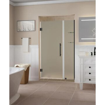 Aston Belmore GS 72-in H x 38-1/4-in to 39-1/4-in W Frameless Hinged Shower Door (Frosted Glass)   SDR960FMB392510