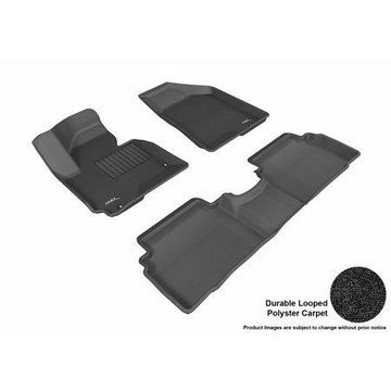 3D MAXpider 2014-2015 Hyundai Tucson Front & Second Row Set All Weather Floor Liners in Black Carpet