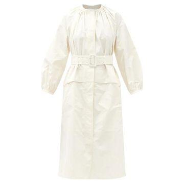 Jil Sander - Drop-shoulder Gathered-taffeta Midi Dress - Womens - White