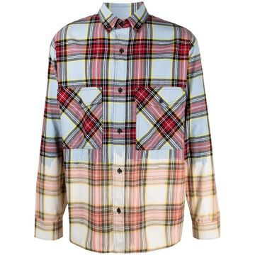 dyed-effect check shirt