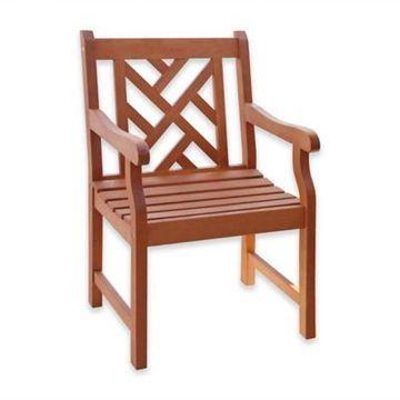 Vifah Classic Slat Back Wood Armchair in Natural