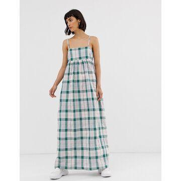 ASOS WHITE green check strappy maxi dress