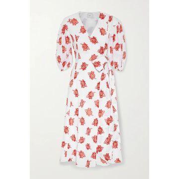 Erdem - Marguerite Floral-print Fil Coupe Poplin Wrap-effect Midi Dress - White
