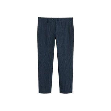 MANGO MAN - Slim fit striped texture pants navy - 34 - Men