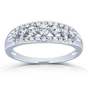 Annello by Kobelli 10k White Gold 2/5ct TDW Diamond Multi-row Wedding Ring (H-I, I2) (6)
