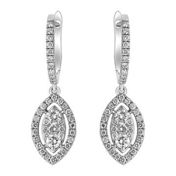 14K White Gold 3/4 ct. TDW Diamonds Swirl Earrings by Beverly Hills Charm