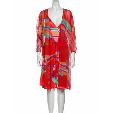 Silk Printed Dress Set Red