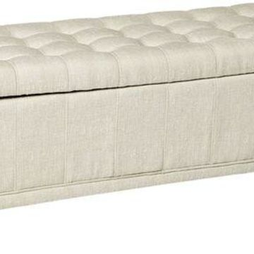 ''New Homelegance 4730NF Lift Top Storage Bench with Tufted Accents, Beige Fabric''