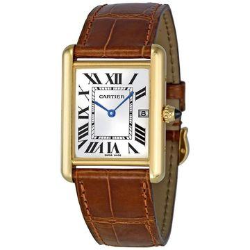 Cartier Men's W1529756 'Tank Louis' 18kt Yellow Gold Brown Leather Watch (Cartier Men's W1529756 Leather)