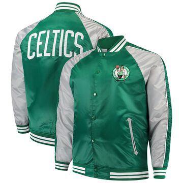 Men's Majestic Kelly Green Boston Celtics Big & Tall Lightweight Satin Full-Snap Jacket