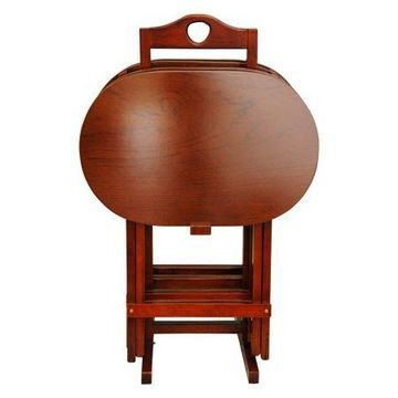 Oriental Furniture TV Tray Set - Set of 4, honey color