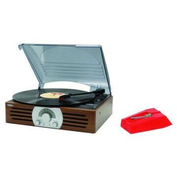 JENSEN JTA-222 3-Speed Stereo Turntable with AM/FM Stereo Radio & 222NDL Turntable Needle