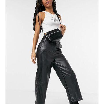 Reclaimed Vintage inspired leather look pants in black-Multi