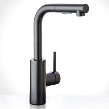 Miseno Mia Flat Black 1-Handle Deck-Mount Pull-Out Handle Kitchen Faucet (Deck Plate Included)   MNO64FB