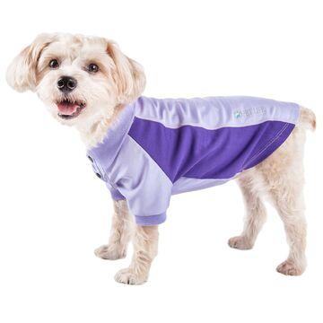 Pet Life Active Barko Pawlo Relax-Stretch Dog Polo Purple T-Shirt, X-Small