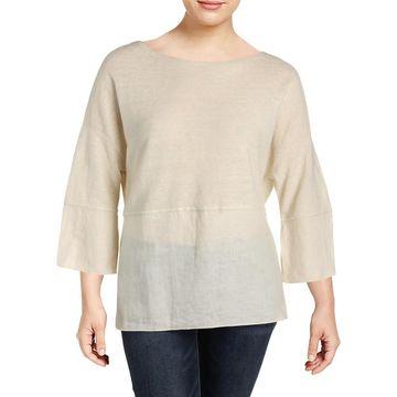 Lafayette 148 New York Womens Blouse Linen Long Sleeve