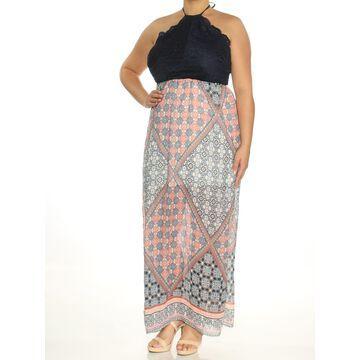 TRIXXI Womens Navy Cut Out Printed Sleeveless Halter Maxi Empire Waist Dress Size: XL
