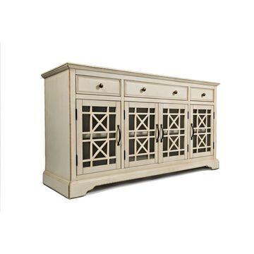 Benzara Cream Contemporary/Modern Hardwood Media Cabinet in Off-White