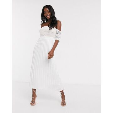 Little Mistress pleat lace midaxi dress in white