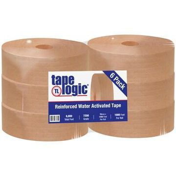 Tape Logic #7200 Reinforced Water Activated Tape, 72mm x 1000, Kraft, 6/Case (T9107200) | Quill