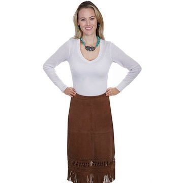 Scully L738-142-XS Lamb Suede Fringed Skirt, Cinnamon - Extra Small