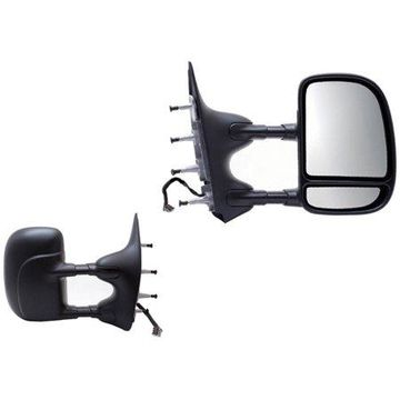 61203-04F - Fit System Towing Mirror Pair for 09-14 Ford Econoline Van, textured black, extendable, foldaway, Power