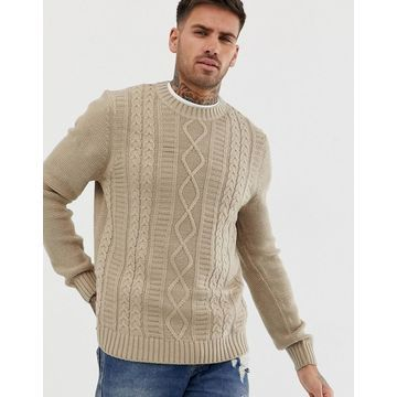 New Look cable knit sweater in beige