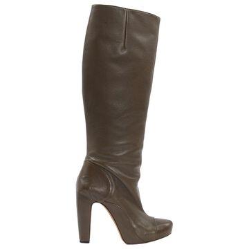 Roland Mouret Khaki Leather Boots