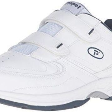 Propet Men's Warner Strap Walking Shoe, White/Navy, 8.5 3E US