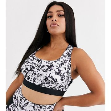 Wolf & Whistle Curve water color print sports bra in black