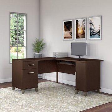 Bush Furniture Somerset 60W L Shaped Desk in Mocha Cherry