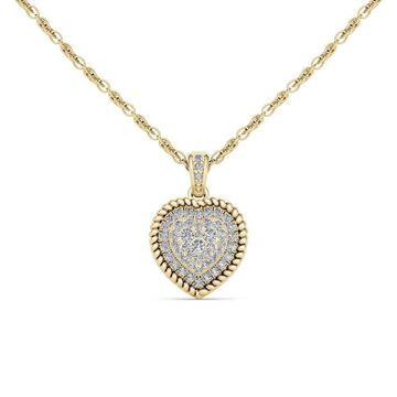 De Couer IGI Certified 10k Yellow Gold 1/4ct TDW Diamond Cluster Heart Necklace (18 Inch - Yellow - Yellow)