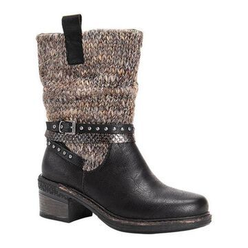 MUK LUKS Women's Kim Winter Boot Black Polyurethane