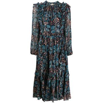 long sleeve ruffled floral print dress