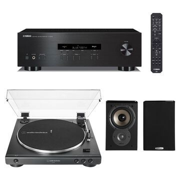Yamaha R-S202 Bluetooth Stereo Receiver with Audio-Technica AT-LP60X-BK Fully Automatic Belt-Drive Stereo Turntable (Black) Polk TSi100 Bookshelf Spea